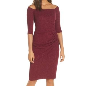 ELIZA J - Off the Shoulder Sheath Dress in Wine